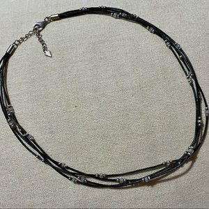 Black Leather Necklace with CZ & sterling beads